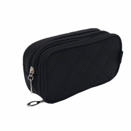 Portable 2 Layers Travel Storage Bag Colorful Cosmetic Makeup Organizer Toiletry Storage Bag Black