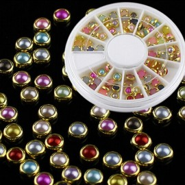 60pcs 3D Pearl Rhinestone Embellishment Metal Binding Nail Art Decoration Kit #2 Multi-Color