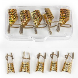 5pcs Reusable UV Acrylic Nail Art Tip Form Extension Tool Golden