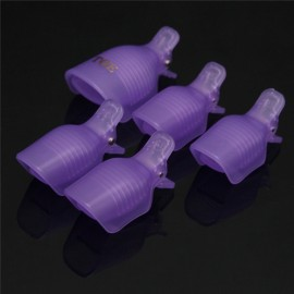 5pcs Toenail Soak Off Clamp Nail Art Tips UV Gel Polish Clip Cap Remover Reusable Purple