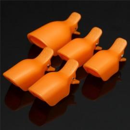 5pcs Toenail Soak Off Clamp Nail Art Tips UV Gel Polish Clip Cap Remover Reusable Orange