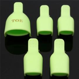 5pcs Toenail Soak Off Clamp Nail Art Tips UV Gel Polish Clip Cap Remover Reusable Green