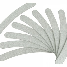 10pcs Sanding 100/180 Curved Nail Files for Nail Art Tips Manicure Silver
