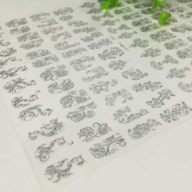 1 Sheet 108pcs 3D Flower Style Nail Art Stickers Silver