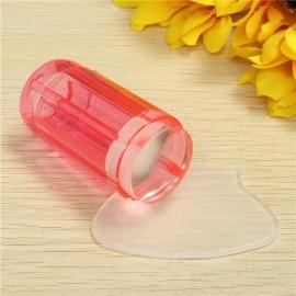 DIY Design Silicone Nail Art Stamper Scraper Set Manicure Tool Transparent Red