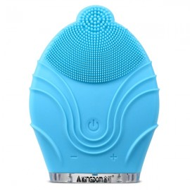 KingDom KD-303 Electric Rechargeable Ultrasonic Facial Cleaner Silicone Face Sonic Brush Vibrating Massager Blue