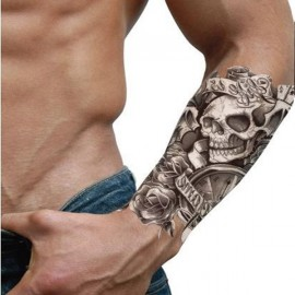 Waterproof  Rose & Clock & Skull Pattern Temporary Tattoo Sticker Silver