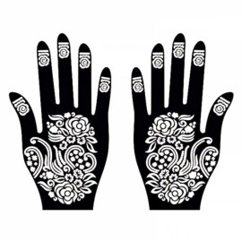 1 Pair India Henna Temporary Tattoo Stencils for Hand Leg Arm Feet Body Art Decal #10