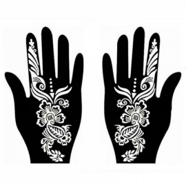 1 Pair India Henna Temporary Tattoo Stencil for Hand Leg Arm Feet Body Art Decal #29