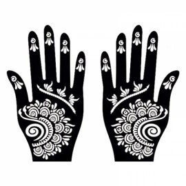 1 Pair India Henna Temporary Tattoo Stencils for Hand Leg Arm Feet Body Art Decal #8