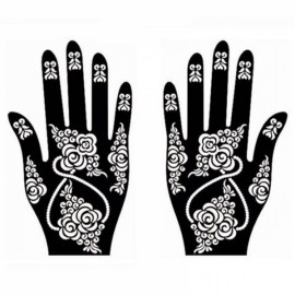 1 Pair India Henna Temporary Tattoo Stencils for Hand Leg Arm Feet Body Art Decal #16