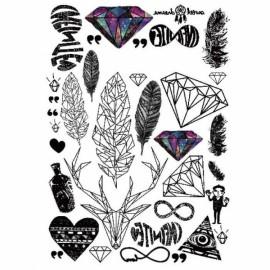 1 Sheet of Waterproof Metallic Temporary Tattoo Body Art Feather Rainbow Diamond Glitter Tattoos Sticker LC871