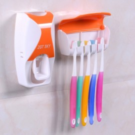 Bathroom Automatic Toothpaste Dispenser Squeezer Toothbrush Holder Set Orange
