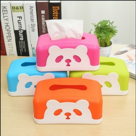Square Colorful Cartoon Panda Tissue Holders Decorative Plastic Tissue Box Rose Red