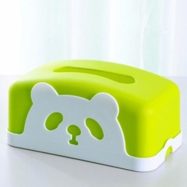 Square Colorful Cartoon Panda Tissue Holders Decorative Plastic Tissue Box Green