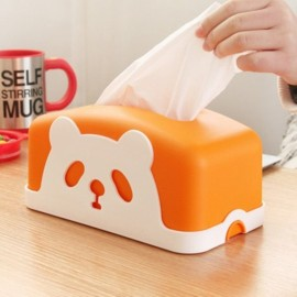 Square Colorful Cartoon Panda Tissue Holders Decorative Plastic Tissue Box Orange