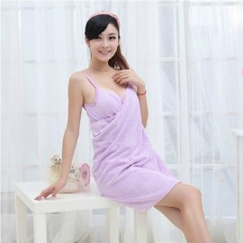 Sexy Women V-Neck Bath Towel Soft Wearable Towel Comfortable Beach Wear Bath Gown Purple