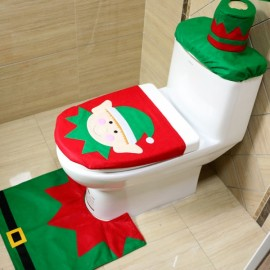 3pcs/set Elf Toilet Seat Cover and Rug Bathroom Set Christmas Decorations Multi-color