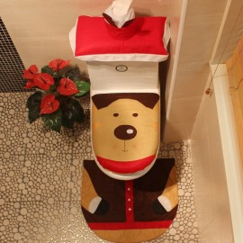 3pcs/set Reindeer Toilet Seat Cover and Rug Bathroom Set Christmas Decorations Multi-color