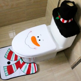3pcs/set Snowman Toilet Seat Cover and Rug Bathroom Set Christmas Decorations Multi-color