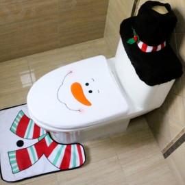 3pcs/set Snowman Toilet Seat Cover and Rug Bathroom Set Christmas Decorations Multi-color