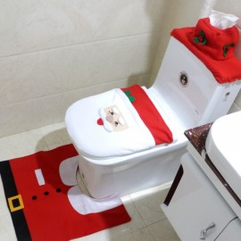 3pcs/set Santa Claus Toilet Seat Cover and Rug Bathroom Set Christmas Decorations Multi-color