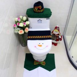 3pcs/set Snowman Style Toilet Seat Cover and Rug Bathroom Set Christmas Decoration Green & Red