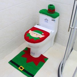 3pcs/set Elfin Style Toilet Seat Cover and Rug Bathroom Set Christmas Decoration Green & Red
