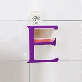 Creative Letter E Bathroom Storage Rack Kitchen Sponge Holder Shelf Purple