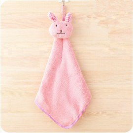 Cute Rabbit Small Towel Hanging Kitchen Bathroom Towel Coral Fleece Home Textile Pink