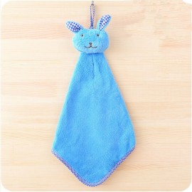 Cute Rabbit Small Towel Hanging Kitchen Bathroom Towel Coral Fleece Home Textile Blue