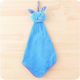 Cute Rabbit Small Towel Hanging Kitchen Bathroom Towel Coral Fleece Home Textile Blue