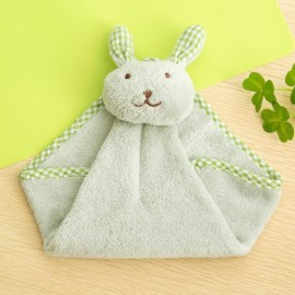 Cute Rabbit Small Towel Hanging Kitchen Bathroom Towel Coral Fleece Home Textile Green