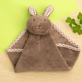Cute Rabbit Small Towel Hanging Kitchen Bathroom Towel Coral Fleece Home Textile Dark Coffee