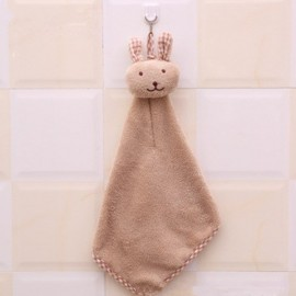 Cute Rabbit Small Towel Hanging Kitchen Bathroom Towel Coral Fleece Home Textile Light Coffee