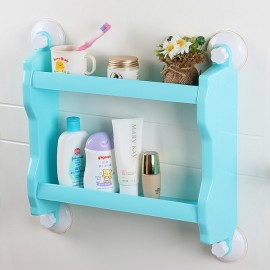 Plastic Wall Mounted Suction Cup Storage Rack Traceless Vacuum Kitchen Bathroom Shelf Holder Blue