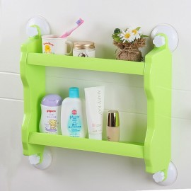 Plastic Wall Mounted Suction Cup Storage Rack Traceless Vacuum Kitchen Bathroom Shelf Holder Green