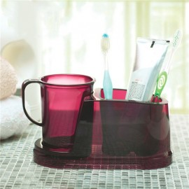 2 in 1 Detachable Teeth Brushing Water Cup with Toothbrush Toothpaste Holder Purple