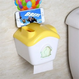 Creative Toilet Roll Paper Holder Paper Box with Mobile Phone Rack Yellow