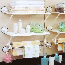 Strong Sucker Wall Mounted Double Layers Towel Rack Storage Rack Bathroom Storage Shelf White