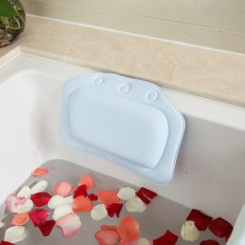 Non-slip Bathroom PVC Bathtub Pillow Headrest SPA Bath Pillow with Suckers Light Blue