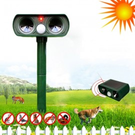 Solar Power Ultrasonic Cat Dog Repeller Outdoor Garden Infrared Sensor Animal Scarer Telescope Shape