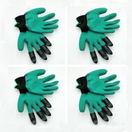 4 Pairs Garden Genie Gloves Digging Planting 4 ABS Plastic Claws Gardening Gloves Green