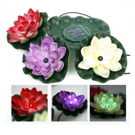 Solar Power LED Floating Lotus Light Night Pond Garden Fountain Pool Flower Lamp
