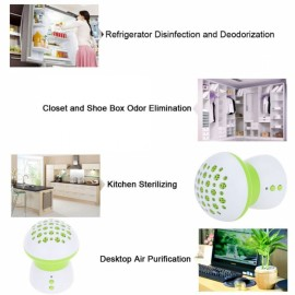 Mushroom Shape Refrigerator Freshener Multi-function Air Purifier Cleaner Disinfection Deodorant White & Green
