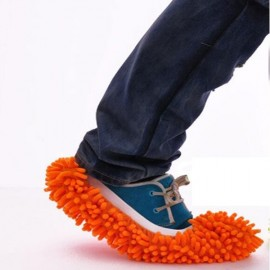 2pcs Multifunction Chenille Cleaning Mop Shoes Mophead Overshoe Floor Dust Cleaning Slippers Orange