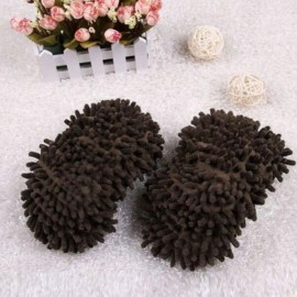 2pcs Multifunction Chenille Cleaning Mop Shoes Mophead Overshoe Floor Dust Cleaning Slippers Army Green