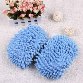 2pcs Multifunction Chenille Cleaning Mop Shoes Mophead Overshoe Floor Dust Cleaning Slippers Blue