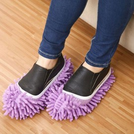 2pcs Multifunction Chenille Cleaning Mop Shoes Mophead Overshoe Floor Dust Cleaning Slippers Purple
