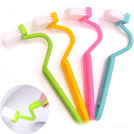 Sanitary S-type Toilet Brush Curved Bent Handle Cleaning Scrubber Random Color